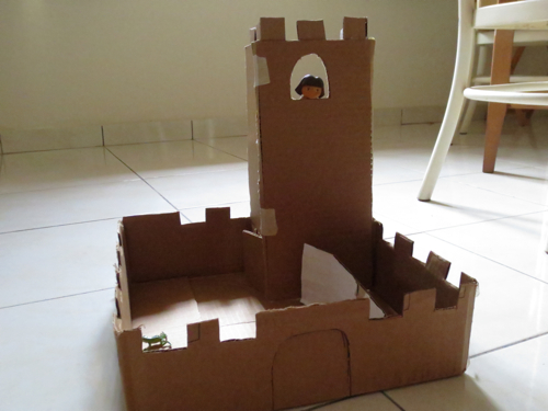 Cardboard paper mache castle zerbert for Castle made out of cardboard boxes