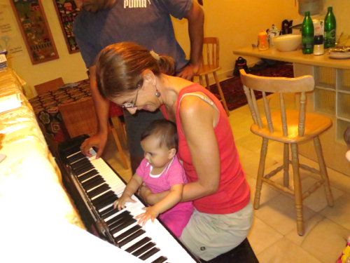 playing piano with Aunty Debby