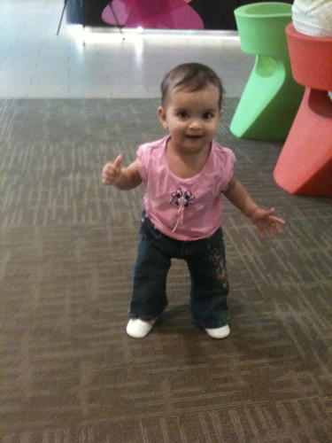 First time walking when we are out and about.  Here we went to the mall.