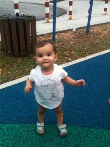 Walking around in the playground for the first time, she was so excited!