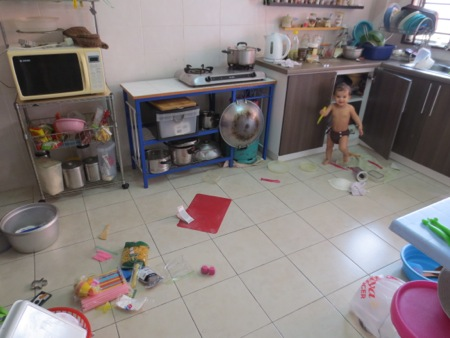 This is what my kitchen ends up looking like every day as she busies herself while I am doing prep work.