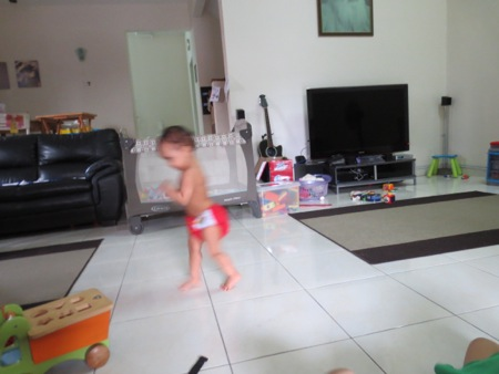 Talisa often looks like this, just a blur running across the room!